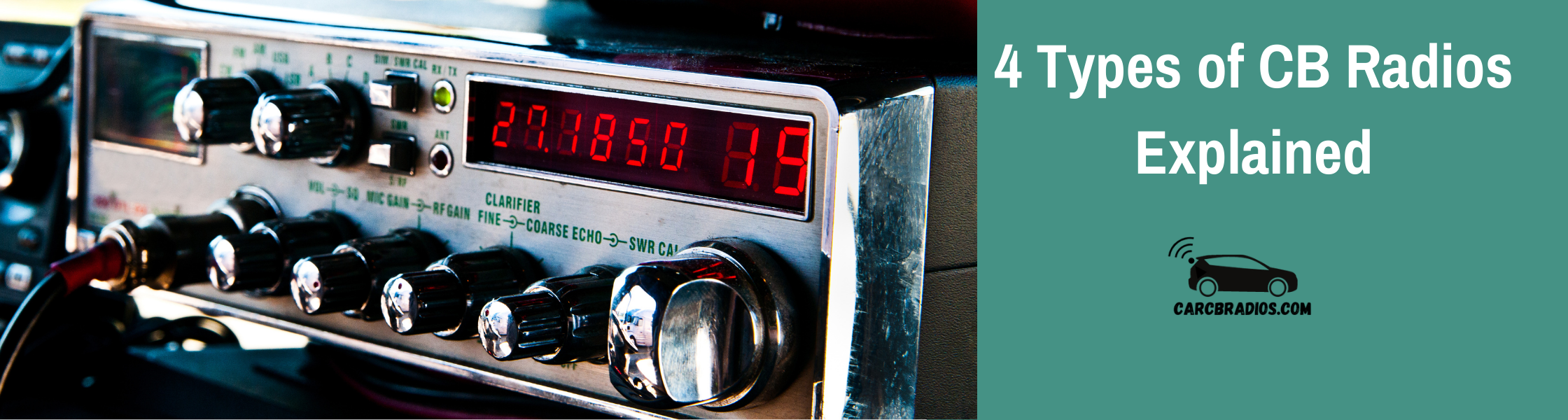 There are 4 types of CB Radio styles: Standard 2-way CB radios, classic handheld units with large antennas designed for mobile use, handheld walkie-talkies, and base CB stations built into your vehicle's dashboard so you can talk while driving.